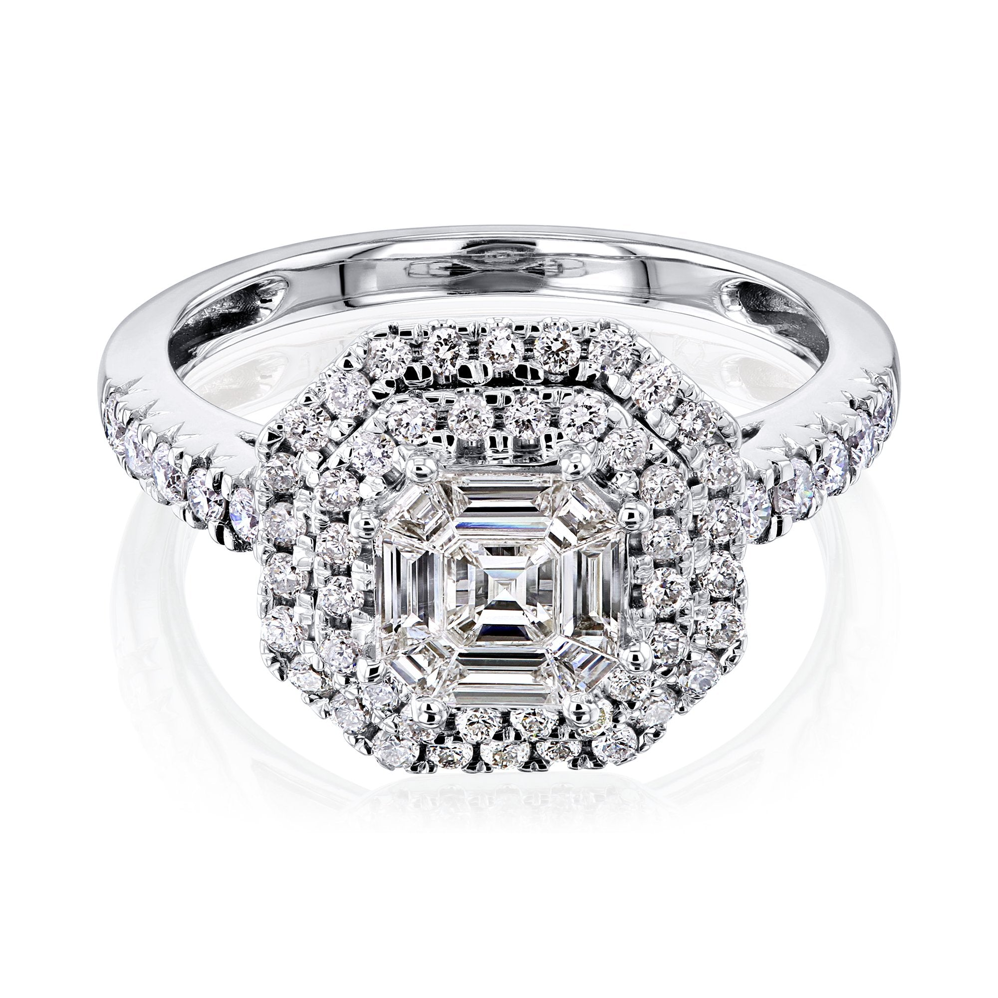 Top Double Halo Cluster Ring - 4.0 white-gold