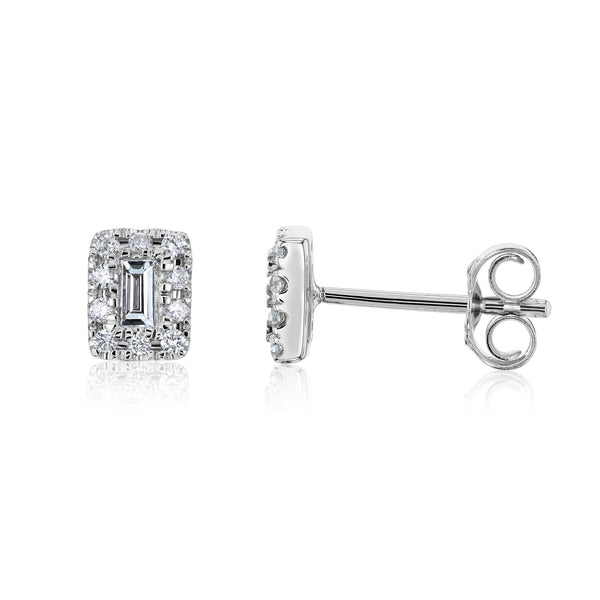 Kobelli Baguette Diamond Halo Studs Earrings