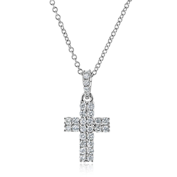 Kobelli Diamond Double Row Cross Necklace