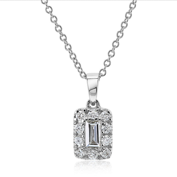 Kobelli Baguette Diamond Halo Necklace