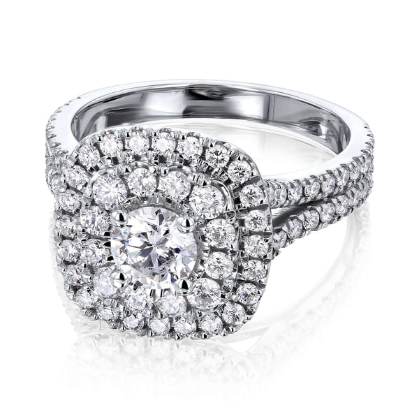 Kobelli 1 3/4ct Natural Diamond Double Halo Ring