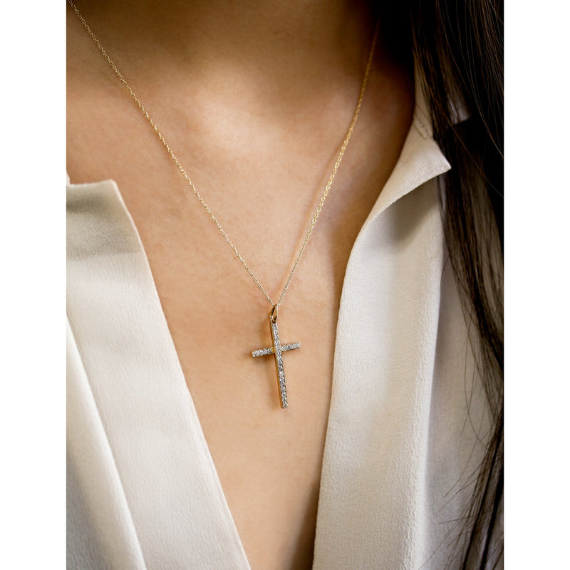 Kobelli Diamond Overlapping Bar Cross Necklace