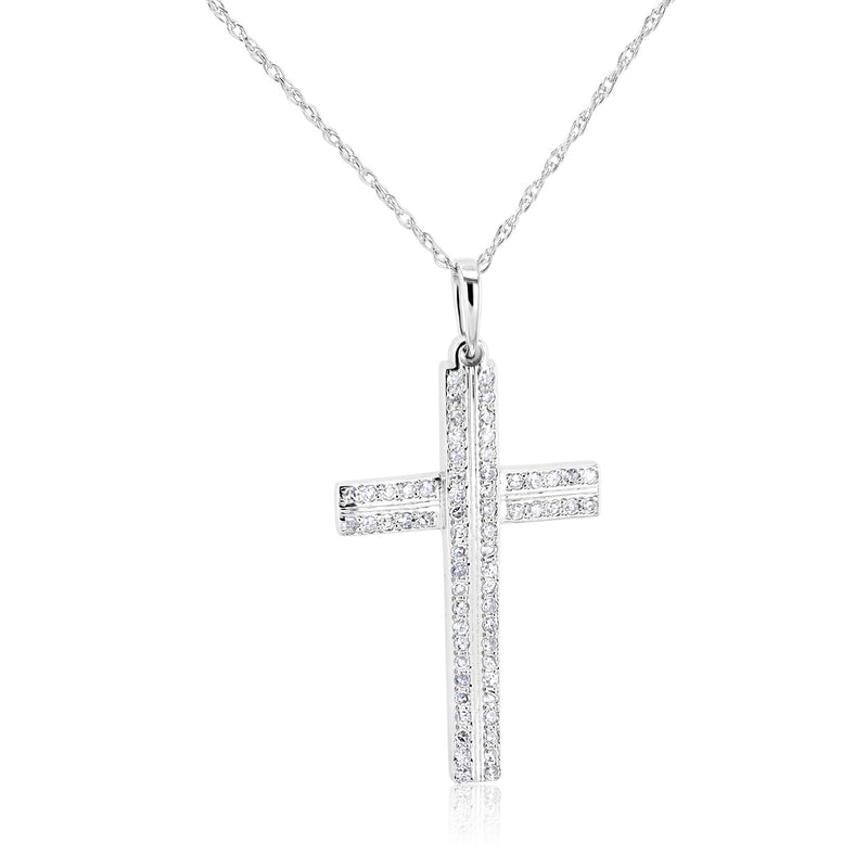 Kobelli Diamond Double Bar Cross Necklace
