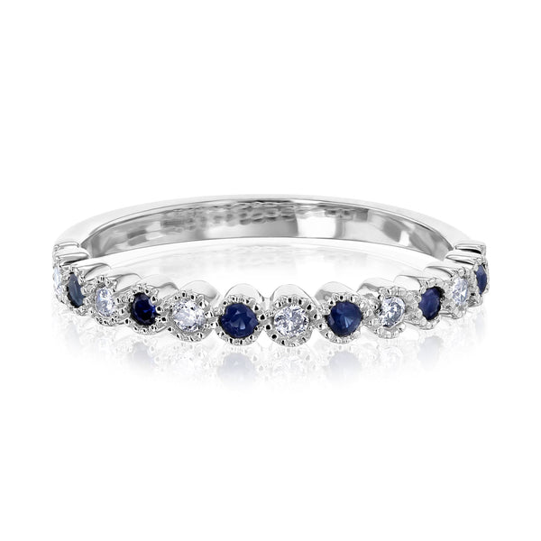 Kobelli Diamond and Sapphire Milgrain Band