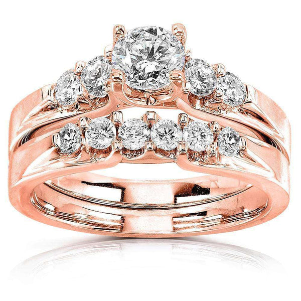 Kobelli Round Diamond 5-Stone Bridal Set 1 Carat T.W. 14k Rose Gold