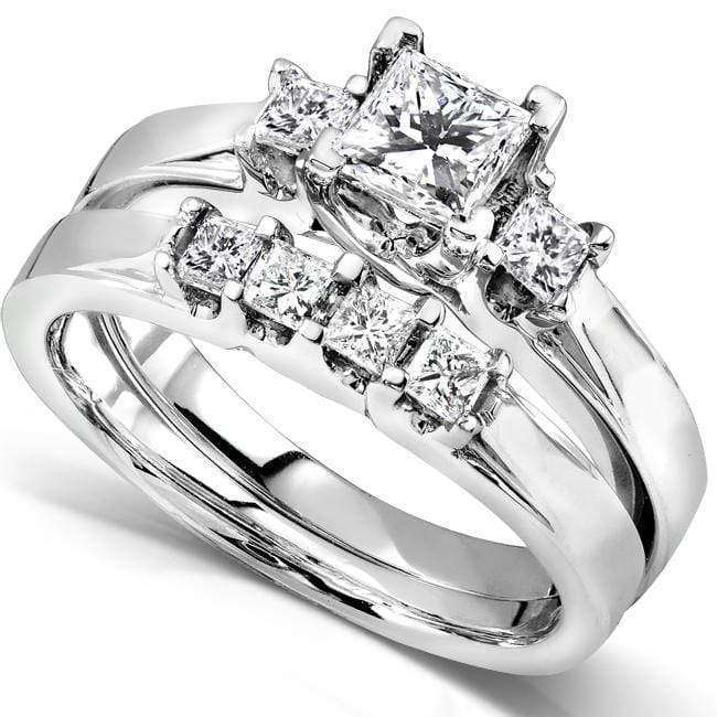 Kobelli Diamond Wedding Set 7/8 carat (ctw) in 14K White Gold