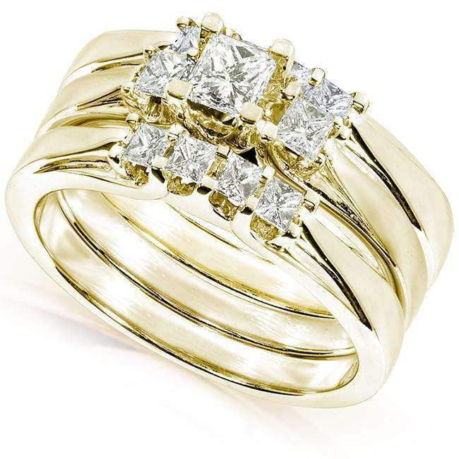 Kobelli Three Stone Princess Diamond Bridal Set 3/4 carat (ctw) in 14k Gold (Set of 3 Rings)