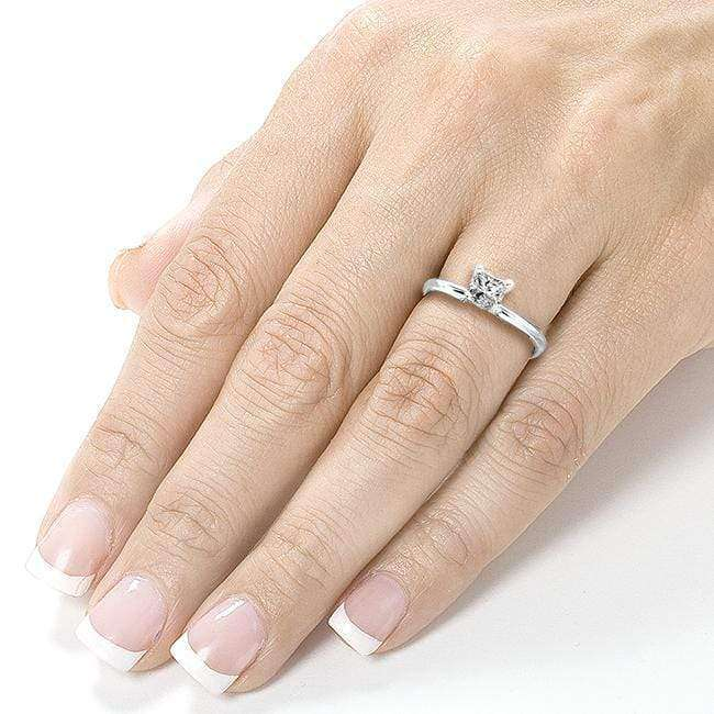 Kobelli Diamond Solitaire Engagement Ring 1/2 Carat (ctw) in 14k White Gold