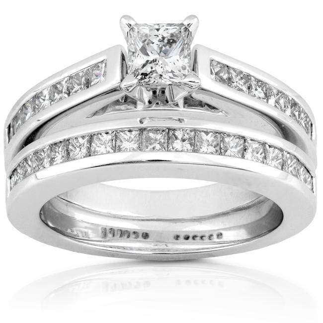 Kobelli Diamond Wedding Set 1 1/2 Carat (ctw) in 14K White Gold
