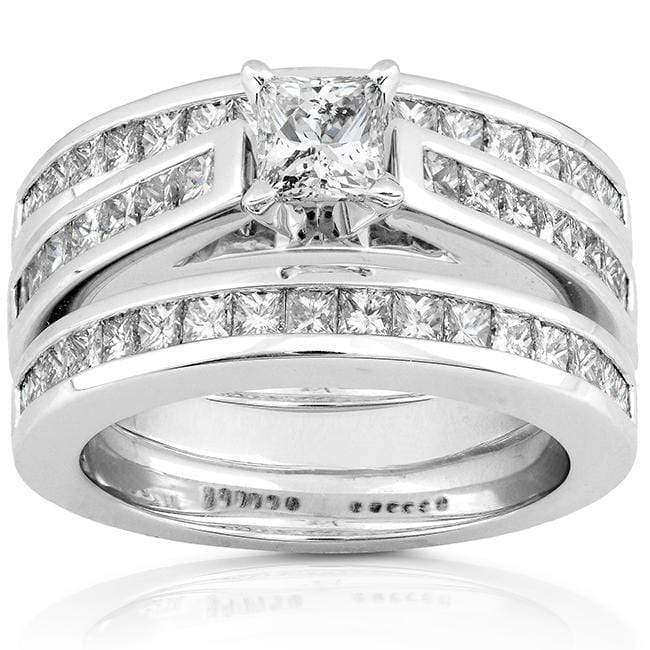 Kobelli Princess Cut Diamond Bridal Set 2 1/10 Carat (ctw) in 14K Gold