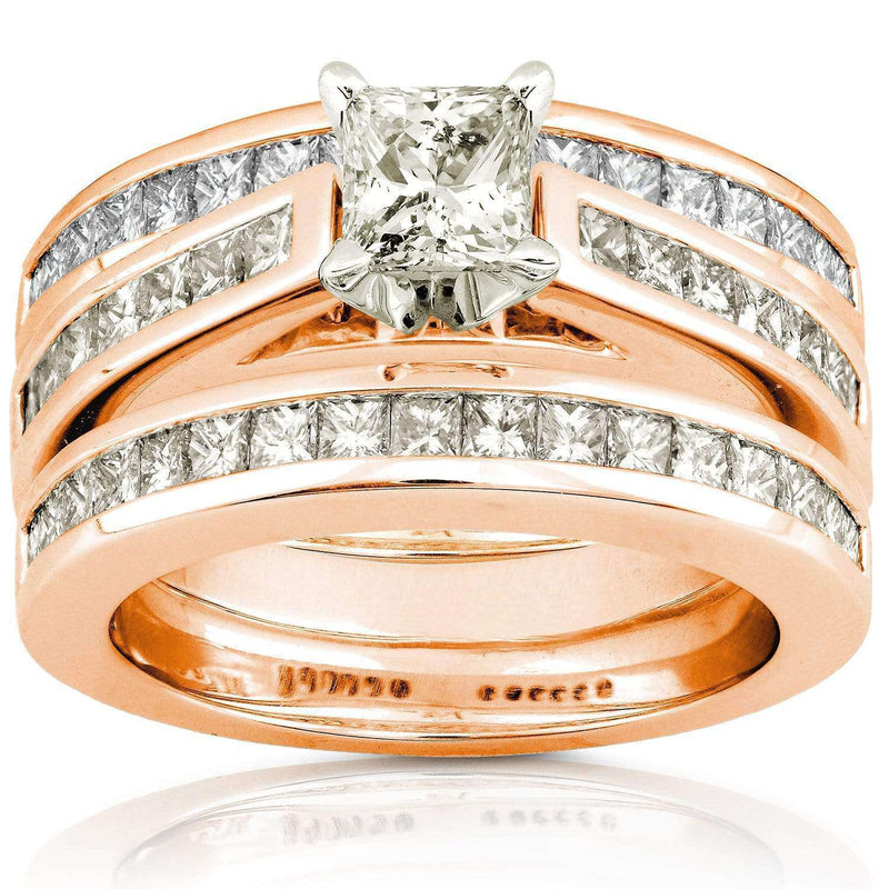 Kobelli Princess Cut Diamond Bridal Set 2 1/3 Carat (ctw) in 14K Gold (3 Piece Set)