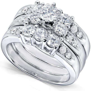 Kobelli Three Stone Round Diamond Bridal Set 1 5/8 carat (ctw) in 14k White Gold (3 Piece Set)