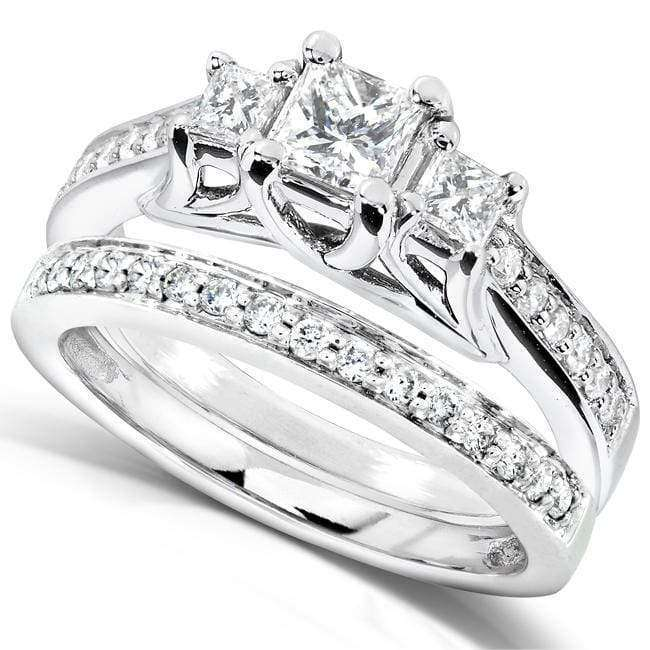 Kobelli Three-Stone Diamond Engagement Ring and Wedding Band Set 4/5 carat (ctw) in 14k White Gold