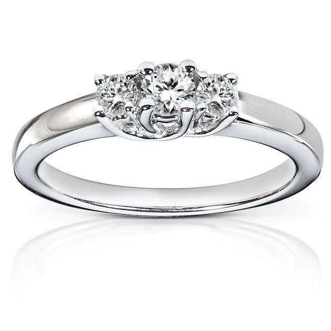Kobelli Diamond Three-Stone Engagement Ring 1/4 carat (ctw) in 14K White Gold