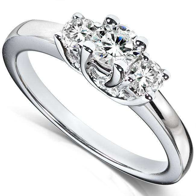 Cheap Diamond Three-Stone Engagement Ring 1/2 carat (ctw) in 14K White Gold - 5.5