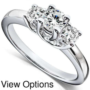 Kobelli Diamond Three-Stone Engagement Ring 3/4 carat (ctw) in 14K White Gold