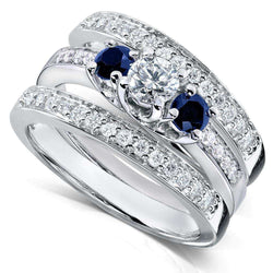 Kobelli Blue Sapphire & Diamond Bridal Ring Set 7/8 Ct (ctw) in 14k White Gold (3 Piece Set)