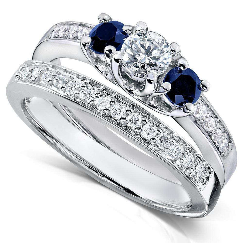 Kobelli Blue Sapphire and Diamond Bridal Ring Set 3/4 Carat (ctw) in14k White Gold