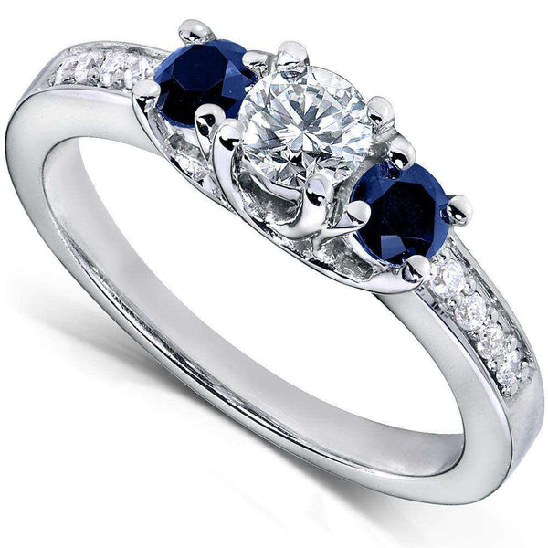 Kobelli Blue Sapphire and Diamond Engagement Ring 3/5 Carat (ctw) in14k White Gold
