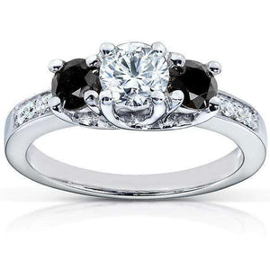 Black and White Diamond Engagement Ring 1 Carat (ctw) in 14k White Gold