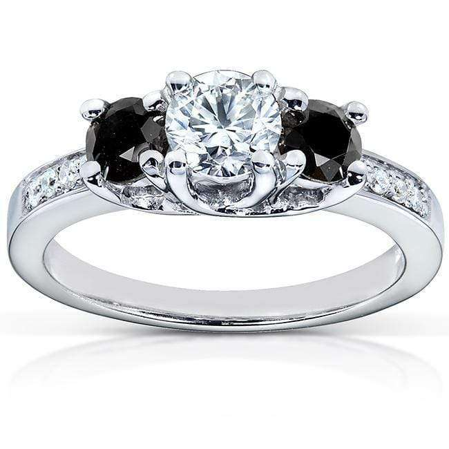 Kobelli Black and White Diamond Engagement Ring 1 Carat (ctw) in 14k White Gold