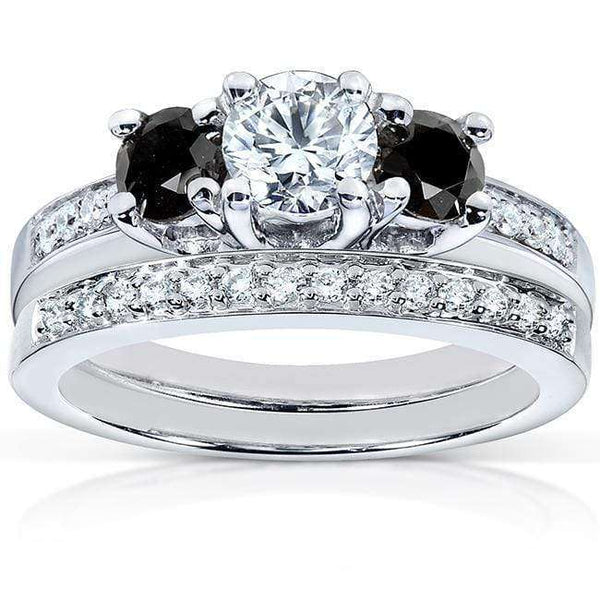 Kobelli Black and White Diamond Wedding Set 1 1/6 carat (ctw) in 14K White Gold