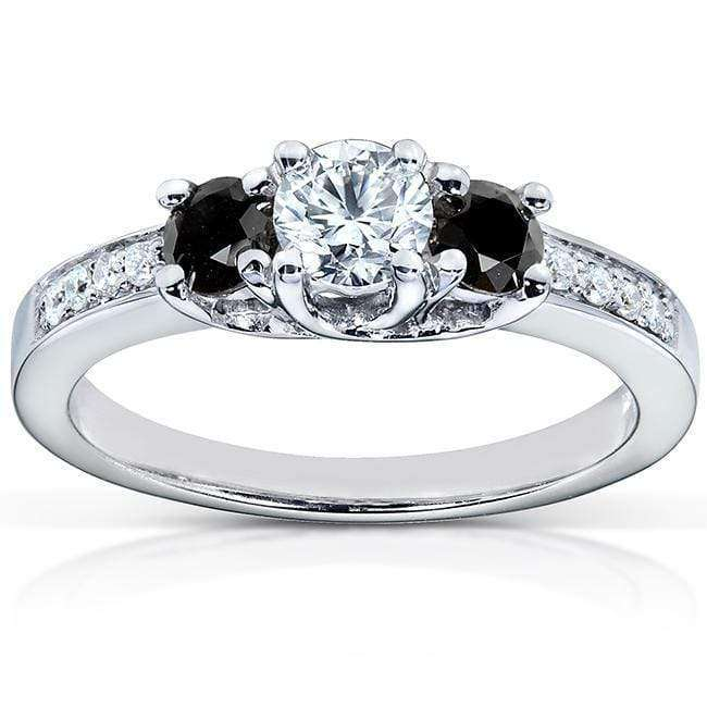 Kobelli Black and White Diamond Engagement Ring 1/2 Carat (ctw) in 14k White Gold