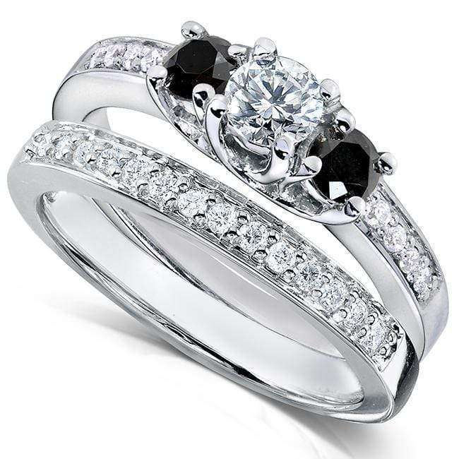 Kobelli Black and White Diamond Wedding Set 5/8 carat (ctw) in 14K White Gold