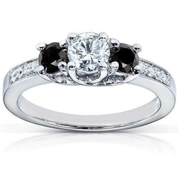 Kobelli Black and White Diamond Engagement Ring 3/4 Carat (ctw) in 14k White Gold