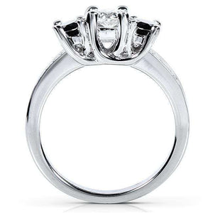 Black and White Diamond Engagement Ring 3/4 Carat (ctw) in 14k White Gold