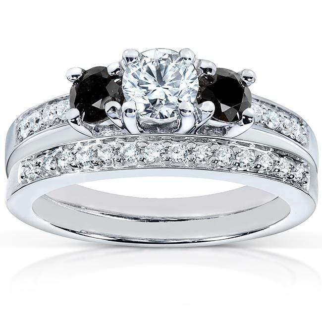Kobelli Black and White Diamond Wedding Set 7/8 carat (ctw) in 14K White Gold