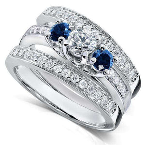 Blue Sapphire and Diamond Bridal Ring Set 1 1/10 Carat (ctw) in 14k White Gold (3 Piece Set)