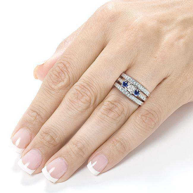 Kobelli Blue Sapphire and Diamond Bridal Ring Set 1 1/10 Carat (ctw) in 14k White Gold (3 Piece Set)