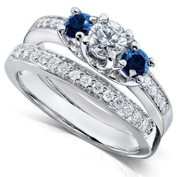 Kobelli Blue Sapphire and Diamond Bridal Ring Set 1 Carat (ctw) in 14k White Gold