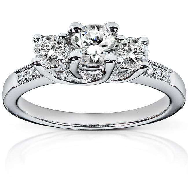 Kobelli Diamond Three-Stone Engagement Ring 1 carat (ctw) in Platinum