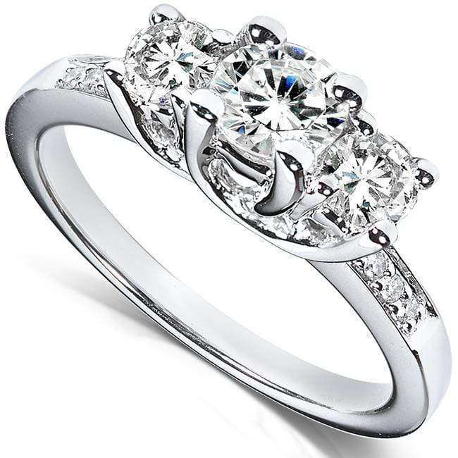 Kobelli Diamond Three-Stone Engagement Ring 1 1/3 Carats (ctw) in 14K White Gold