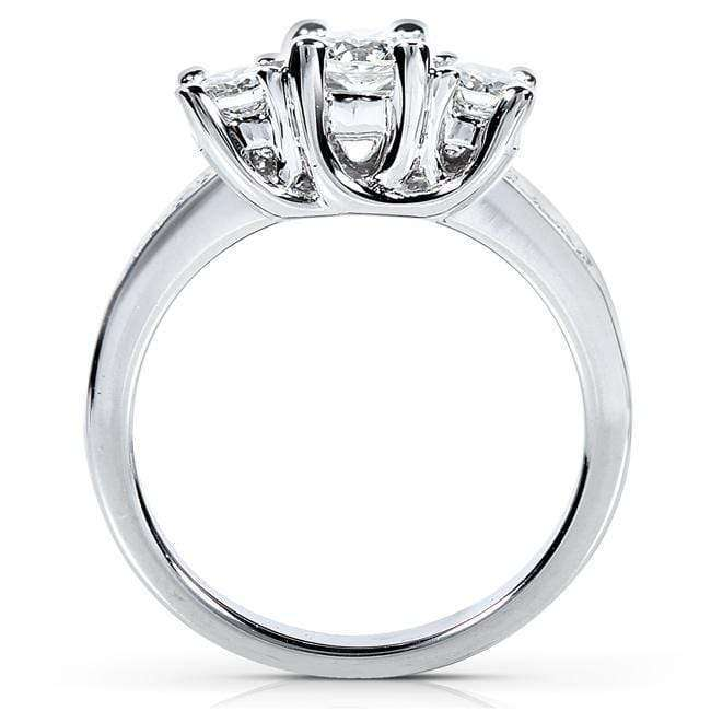 Kobelli Diamond Three-Stone Engagement Ring 1 1/2 Carats (ctw) in Platinum (Certified)