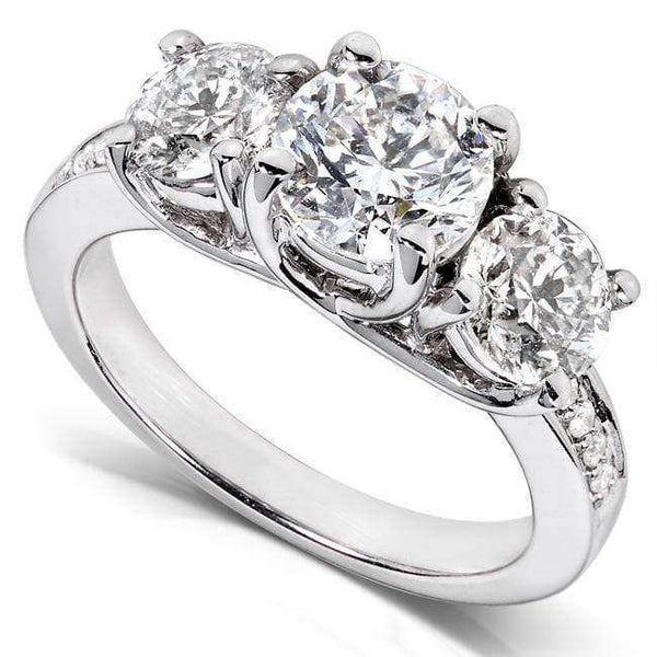 Kobelli Diamond Three-Stone Engagement Ring 2 carats (ctw) in 14K White Gold (Certified)
