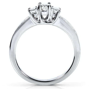 Diamond Three-Stone Engagement Ring 1/3 carat (ctw) in 14K White Gold