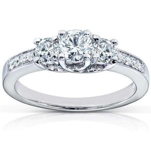 Diamond Three-Stone Engagement Ring 1/2 carat (ctw) in 14K White Gold