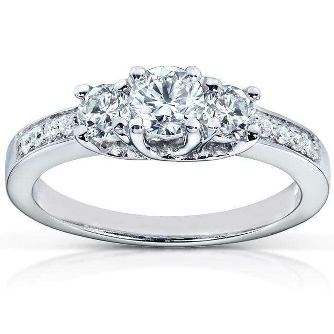 Kobelli Diamond Three-Stone Engagement Ring 1/2 carat (ctw) in 14K White Gold