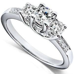Diamond Three-Stone Engagement Ring 4/5 carat (ctw) in 14K White Gold