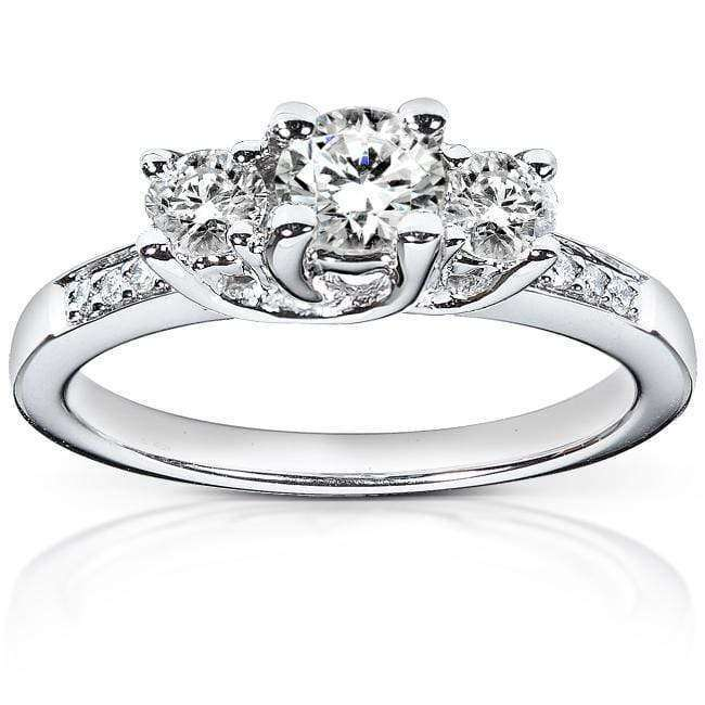 Kobelli Diamond Three-Stone Engagement Ring 4/5 carat (ctw) in 14K White Gold