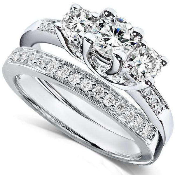 Kobelli Round Diamond Wedding Set 1 1/5 carats (ctw) in 14K White Gold