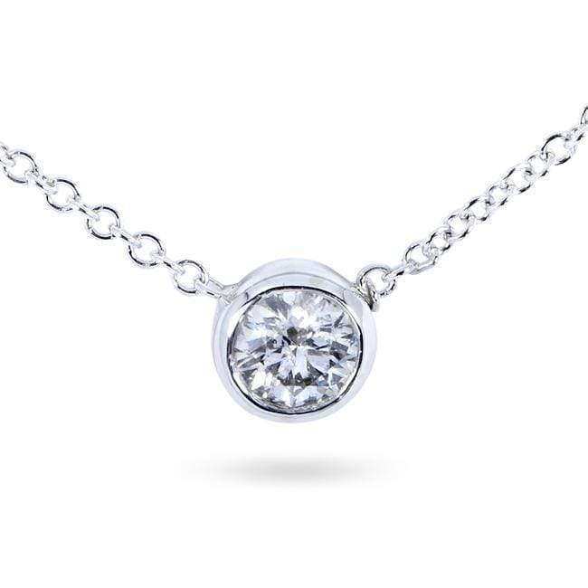 Kobelli Diamond Solitaire 1/3 Carat Bezel Necklace in 14K Gold 6697_WG