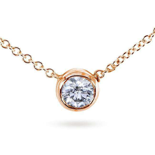 Diamond Solitaire 1/3 Carat Bezel Necklace in 14K Gold