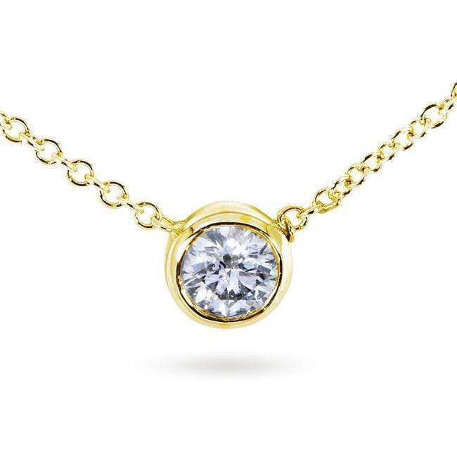 Kobelli Diamond Solitaire 1/3 Carat Bezel Necklace in 14K Gold 6697_YG