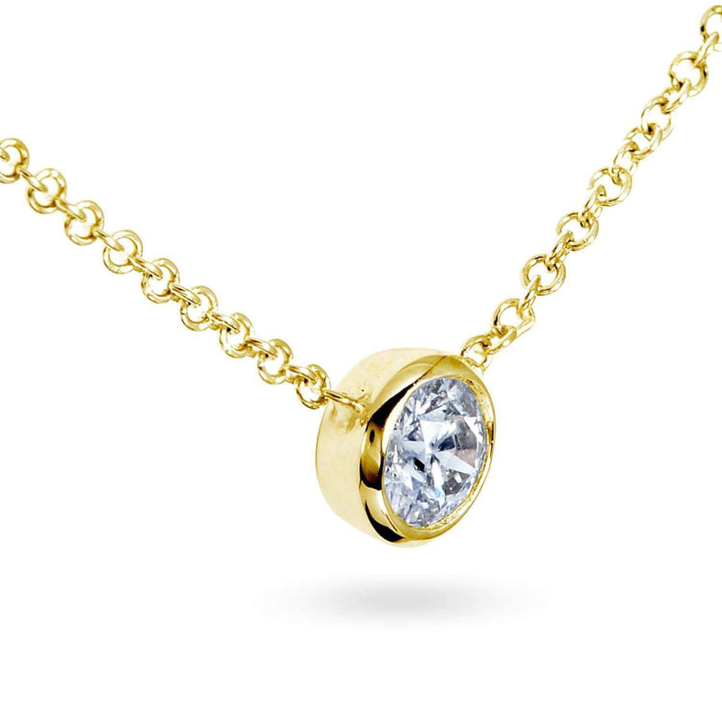 Kobelli Diamond Solitaire 1/3 Carat Bezel Necklace in 14K Gold