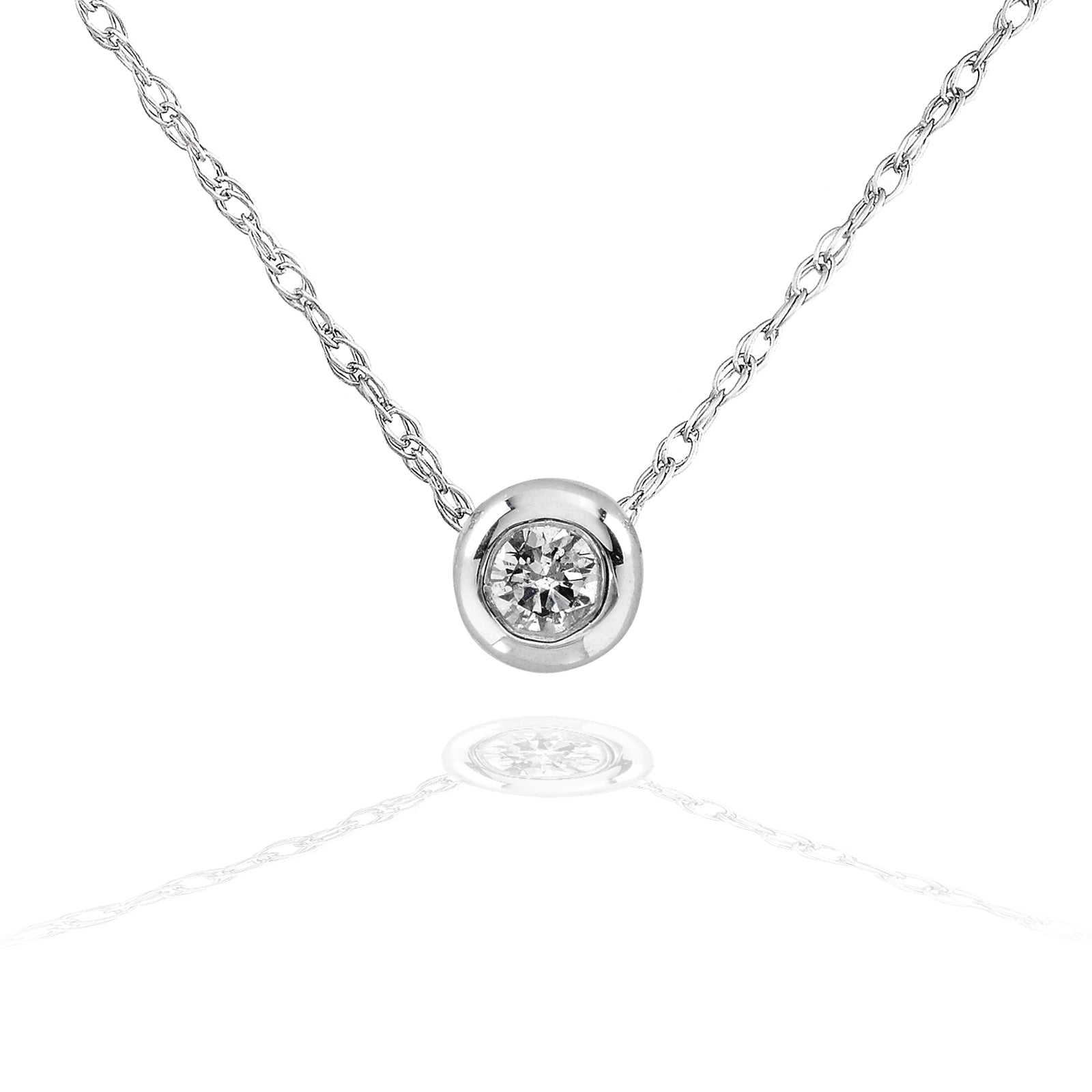 Promos Tiny Diamond Solitaire Bezel Necklace in 14k Gold (18 Chain) - white-gold