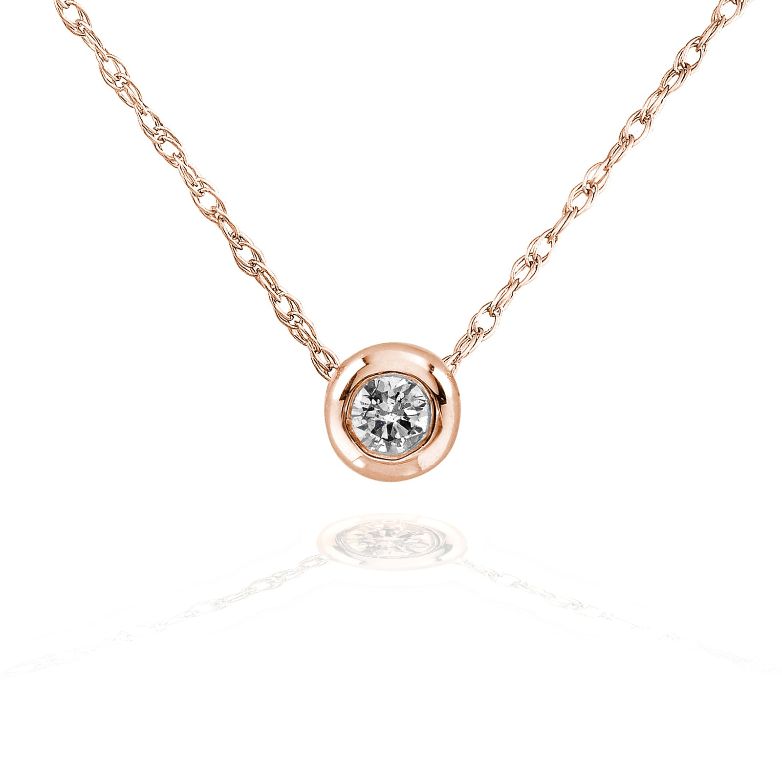 Compare Tiny Diamond Solitaire Bezel Necklace in 14k Gold (18 Chain) - rose-gold